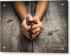 Person Praying Acrylic Print by Aged Pixel