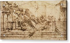 Perspective Study For The Background Of The Adoration Of The Magi Acrylic Print by Leonardo da Vinci