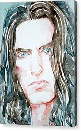 Peter Steele Watercolor Portrait Acrylic Print by Fabrizio Cassetta