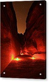 Petra Night Walk Acrylic Print by Stephen Stookey