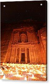 Petra Treasury At Night Acrylic Print by Stephen Stookey