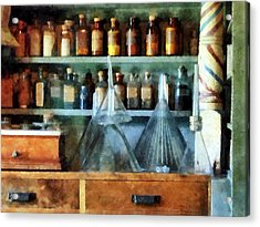 Pharmacist - Glass Funnels And Barber Pole Acrylic Print by Susan Savad