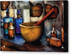 Pharmacist - Mortar And Pestle Acrylic Print by Mike Savad