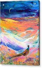 Pheasant Moon Acrylic Print by Jane Small