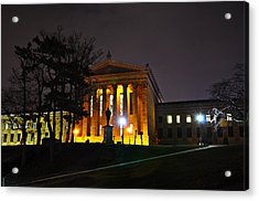 Philadelphia Art Museum  At Night From The Rear Acrylic Print by Bill Cannon