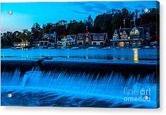 Philadelphia Boathouse Row At Sunset Acrylic Print by Gary Whitton
