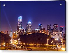 Philadelphia Nightscape Acrylic Print by Olivier Le Queinec