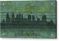 Philadelphia Pennsylvania Skyline Art On Distressed Wood Boards Acrylic Print by Design Turnpike