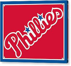 Philadelphia Phillies Baseball Acrylic Print by Tony Rubino