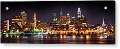 Philadelphia Philly Skyline At Night From East Color Acrylic Print by Jon Holiday