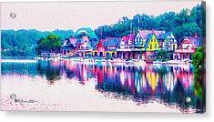 Philadelphia's Boathouse Row On The Schuylkill River Acrylic Print by Bill Cannon