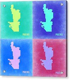 Phoenix Pop Art Map 1 Acrylic Print by Naxart Studio