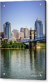 Photo Of Cincinnati Skyline And Roebling Bridge Acrylic Print by Paul Velgos