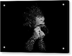 Photographer Camera Abstract Explosion Black And White Dripping Paint Splatter Acrylic Print by Andy Gimino