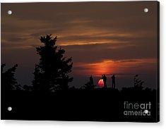 Photographers Shooting Sunrise At Bear Rocks Acrylic Print by Dan Friend