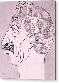 Phrenological Chart Of The German Acrylic Print by Oliver Herford