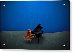 Piano Playing Octopus Acrylic Print by Gianfranco Weiss