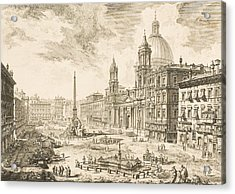 Piazza Navona Acrylic Print by Giovanni Battista Piranesi