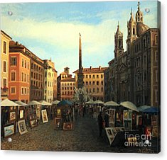 Piazza Navona In Rome Acrylic Print by Kiril Stanchev