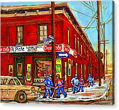 Piche's Grocery Store Bridge Street And Forfar Goosevillage Montreal Memories By Carole Spandau Acrylic Print by Carole Spandau