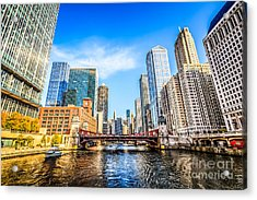 Picture Of Chicago At Lasalle Street Bridge Acrylic Print by Paul Velgos