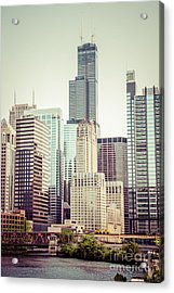 Picture Of Vintage Chicago With Sears Willis Tower Acrylic Print by Paul Velgos