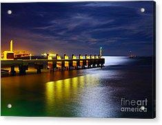 Pier At Night Acrylic Print by Carlos Caetano
