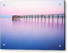 Pier On Lake Winnipeg Acrylic Print by Ken Gillespie