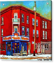 Pierrette Patates 3900 Verdun Restaurant Montreal Streets And Shops City Of Verdun Art Work Scenes Acrylic Print by Carole Spandau