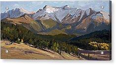 Pikes Peak Panoramic Acrylic Print by Mary Giacomini