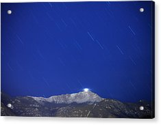 Pikes Peak Under The Stars Acrylic Print by Darren  White