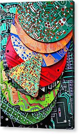 Pile Of Circuit Boards Acrylic Print by Garry Gay