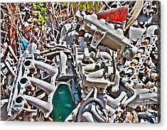 Piles Of Engines - Automotive Recycling Acrylic Print by Crystal Harman