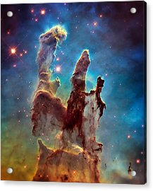 Pillars Of Creation In High Definition - Eagle Nebula Acrylic Print by Jennifer Rondinelli Reilly - Fine Art Photography