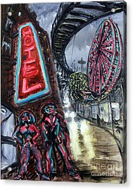 Pimp And Prostitute In Coney Island Acrylic Print by Arthur Robins