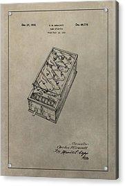 Pinball Machine Patent Acrylic Print by Dan Sproul