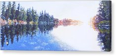 Pine Lake Reflection Acrylic Print by Charles Smith