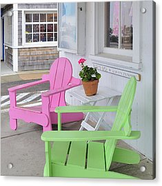 Pink And Green Chairs Watch Hill Rhode Island Acrylic Print by Marianne Campolongo