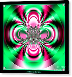 Pink And Green Rotating Flower Fractal 74  Acrylic Print by Rose Santuci-Sofranko