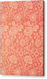Pink And Rose Wallpaper Design Acrylic Print by William Morris