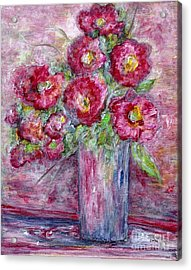 Pink Beauties In A Blue Crystal Vase Acrylic Print by Eloise Schneider