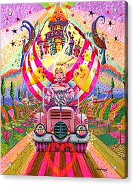 Pink Car Angel Acrylic Print by Jacquelin Vanderwood