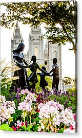 Pink Family Slc Temple Acrylic Print by La Rae  Roberts