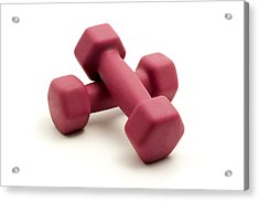 Pink Fixed-weight Dumbbells Acrylic Print by Fabrizio Troiani