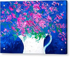 Pink Flowers In A Jug Acrylic Print by Jan Matson