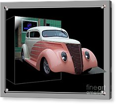 Pink Hot Rod 01 Acrylic Print by Thomas Woolworth