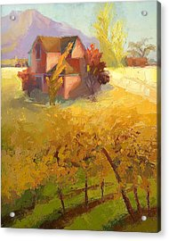 Pink House Yellow Field Acrylic Print by Cathy Locke