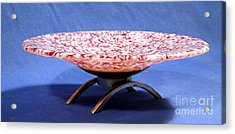 Pink Murrini Bowl With Stand Image B Acrylic Print by P Russell