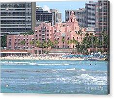 Pink Palace On Waikiki Beach Acrylic Print by Mary Deal