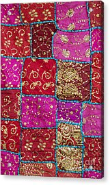 Pink Patchwork Indian Wall Hanging Acrylic Print by Tim Gainey